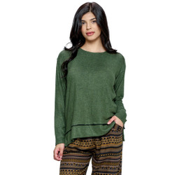 Fair  trade green layered hem top with contrast stitching from Nepal