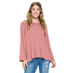 Fair trade blush ribbed easy fit top from Nepal