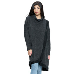 Fair trade cowl neck tunic sweater with long overlap from Nepal