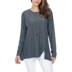 Fair trade solid grey tunic top with front side slit from Nepal
