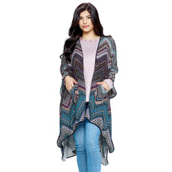 Fair trade tribal print loose fit wrap with pockets from Nepal