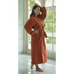 Fair trade spice colored 100% cotton kimono robe with pockets from Bali, Indonesia