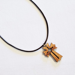 Fair trade olive wood cross pendant from Palestine