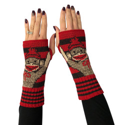 Recycled pre-consumer medium weight knit cotton blend sock monkey hand warmers made in USA