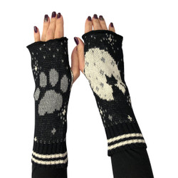 Recycled pre-consumer medium weight knit cotton blend cat with moon hand warmers made in USA