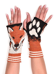 Recycled pre-consumer medium weight knit cotton blend fox hand warmers made in USA