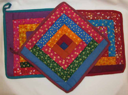 Fair Trade Cotton Log Cabin Patchwork Potholder from Nepal