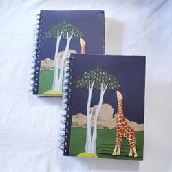 fair trade elephant pooh paper spiral bound journal with giraffe from Sri Lanka