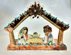 Fair Trade Mixed Metal One Piece Nativity from Thailand