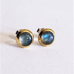 Fair trade blue moonstone and brass stud earrings from India