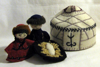 Embroidered Fair Trade 3 pc Felted Wool Nativity with Yurt from Kyrgyzstan
