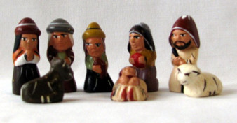 Fair Trade Hand Painted Ceramic 8 pc Nativity Set from Peru