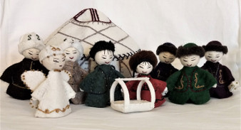 Fair Trade Embroidered 9 pc Felted Wool Nativity with Yurt from Kyrgyzstan