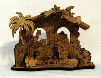 Fair Trade Laser Cut Olive Wood Nativity from West Bank