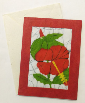 Fair trade batik hibiscus note card from Nepal.