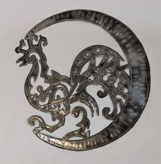Fair Trade Recycled Steel Drum Rooster Wallhanging from Haiti