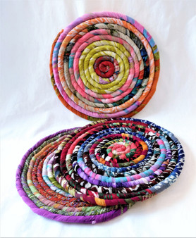 Fair Trade Recycled Silk Sari Trivet from Nepal