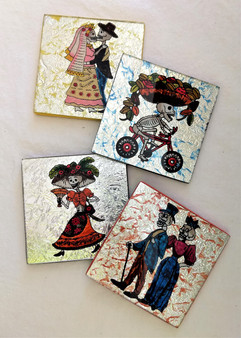 Fair Trade Reverse Glass Day of the Dead Coasters from Peru