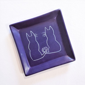 fair trade carved soapstone dish with cats from Kenya