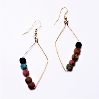 fair trade upcycled sari bead earrings from India