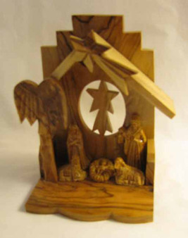 Fair Trade Olive Wood 1 Pc Nativity with Gypsum Figures from the Holyland