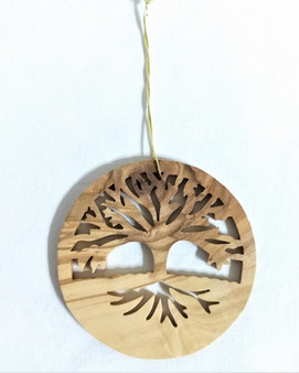 Fair Trade Olive Wood Tree of Life Ornament from the Holyland