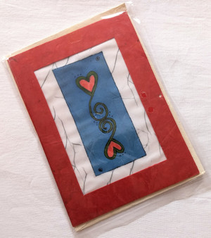 Fair Trade Batik Heart Note Card from Nepal