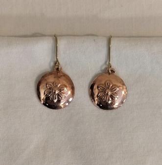 Fair Trade Bronze Embossed Flower Earrings from Peru