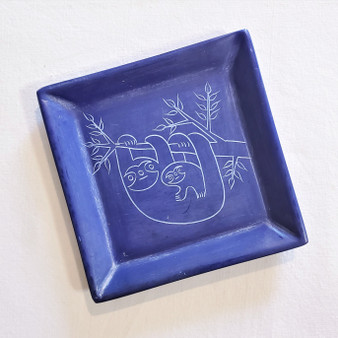 fair trade carved soapstone dish with sloths from Kenya