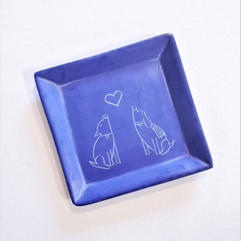 fair trade carved soapstone dish with dogs from Kenya