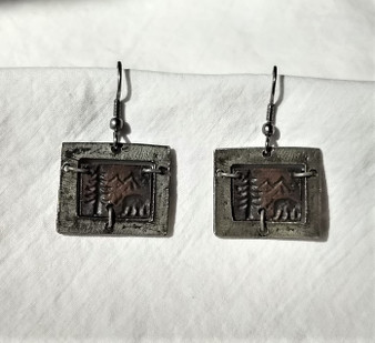 Fair Trade Copper and Oxidized Silver Bear Earrings from India