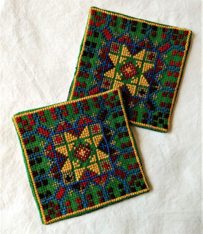 Fair Trade Cross Stitch Embroidered Coaster Set Made by Syrian Women