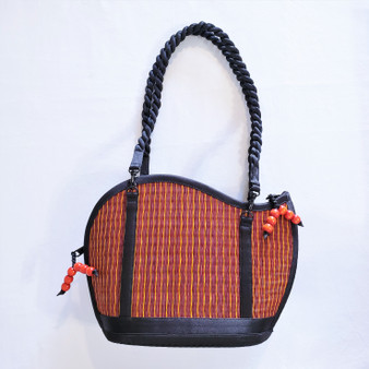 fair trade woven reed wave purse from Cambodia