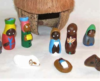 Fair Trade Handpainted Clay Nativity with Coconut Shell Stable from Haiti