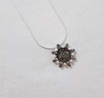 Fair Trade Sterling, Pearl, and Druzy Quartz Pendant from Israel