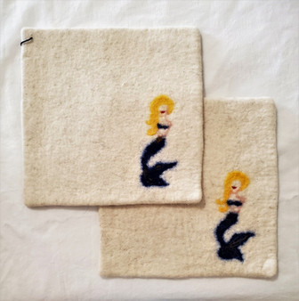 Fair Trade Needle Felted Wool Square Trivet / Potholder with Mermaid from Kyrgyzstan