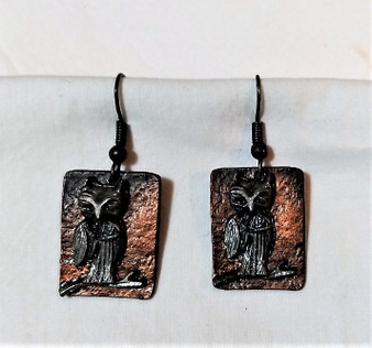 Fair Trade Copper and Oxidized Pewter Owl Earrings from India