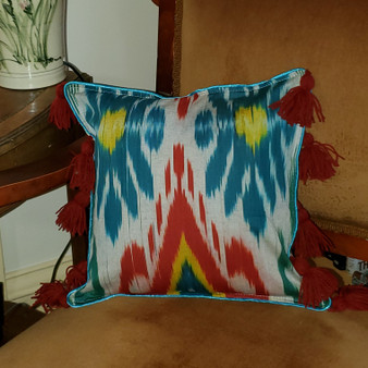 Fair Trade Cotton Adras Fabric Pillow from Kyrgyzstan