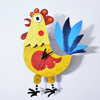 Fair Trade Metal Rooster Clock from Colombia