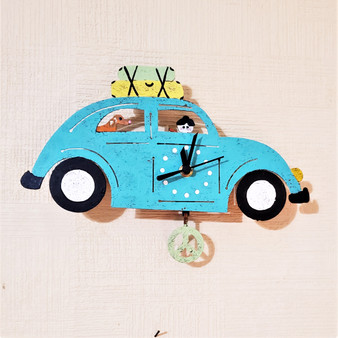 Fair Trade Recycled Metal Car Clock from Colombia