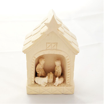 Fair Trade Carved Wood Nativity in Hut from Madagascar