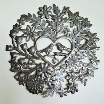 Fair Trade Recycled Steel Drum Lovebirds in Heart Wall Hanging from Haiti