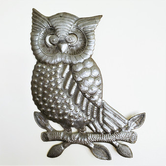 Fair Trade Recycled Steel Drum Owl Wall Hanging from Haiti