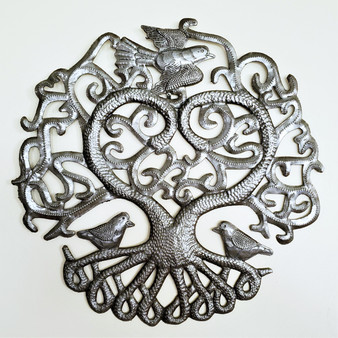 Fair Trade Recycled Steel Drum Tree of Life with Heart Wall Art from Haiti