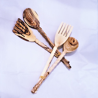 Fair Trade Olive Wood Salad Server Set from Palestine