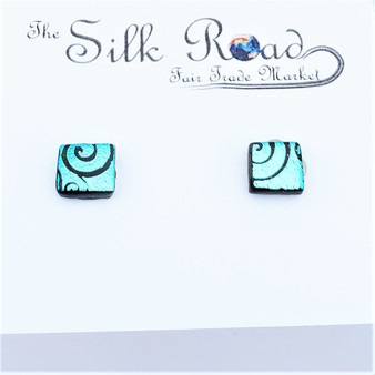 Fair Trade Recycled Fused Glass Stud Earrings from Chile