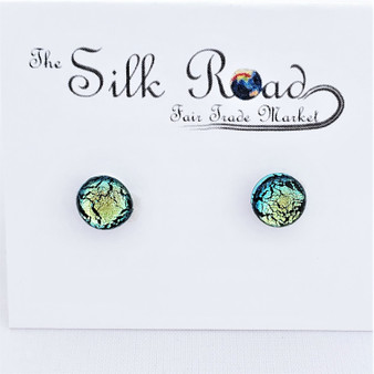 Fair Trade Blue & Green Dichroic Glass Stud Earrings from Chile