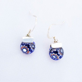 Fair Trade Millefiori Glass and Sterling Dangle Earring from Chile