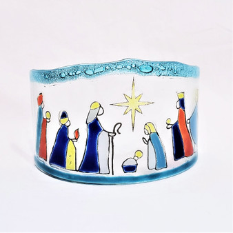 Fair Trade Fused Recycled Glass Curved Nativity from Chile