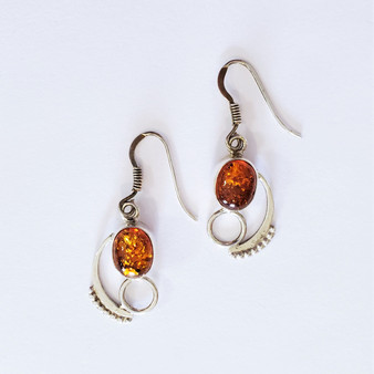 Fair Trade Amber and Sterling Silver Earrings from Nepal